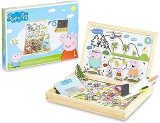 Peppa Pig Pizarra Infantil, Pizarra Magnetica Infantil y Puzzle Niños, Incluye Imanes Rotuladores y Tizas de Colores para ...