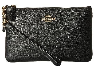 COACH Polished Pebble Small Wristlet (LI/Black) Wristlet Handbags