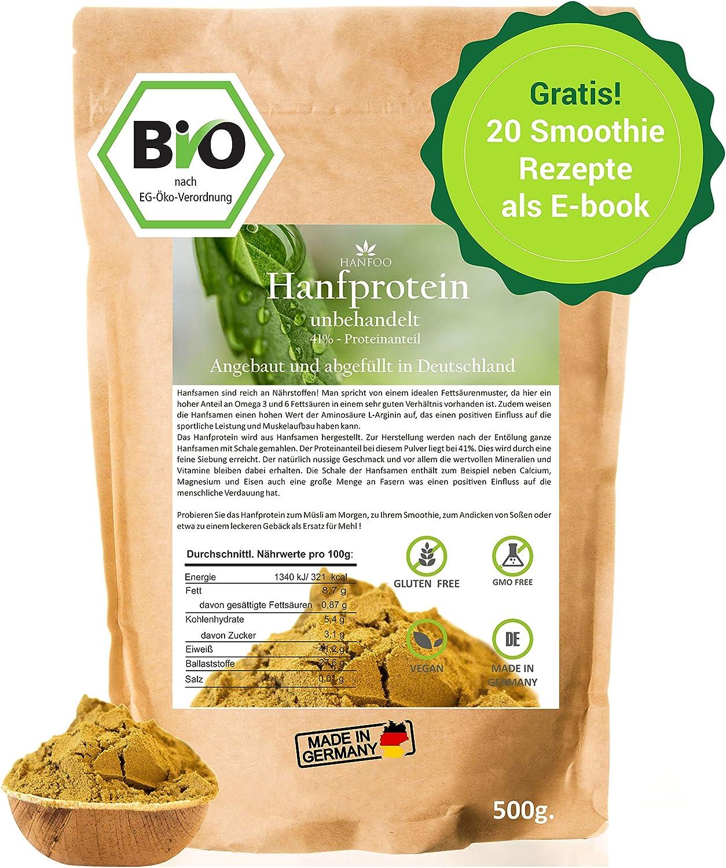 Hanfprotein aus Deutschland 500g. - 30% Proteinanteil - ohne Zusätze - Hanfmehl zum Backen - Hanfsamenprotein - Vegan - Low Carb - Rohkost von Hanfoo