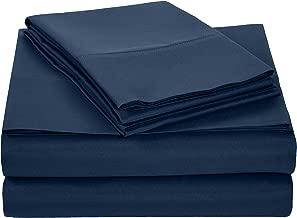 AmazonBasics Light-Weight Microfiber Sheet Set - Full, Navy Blue