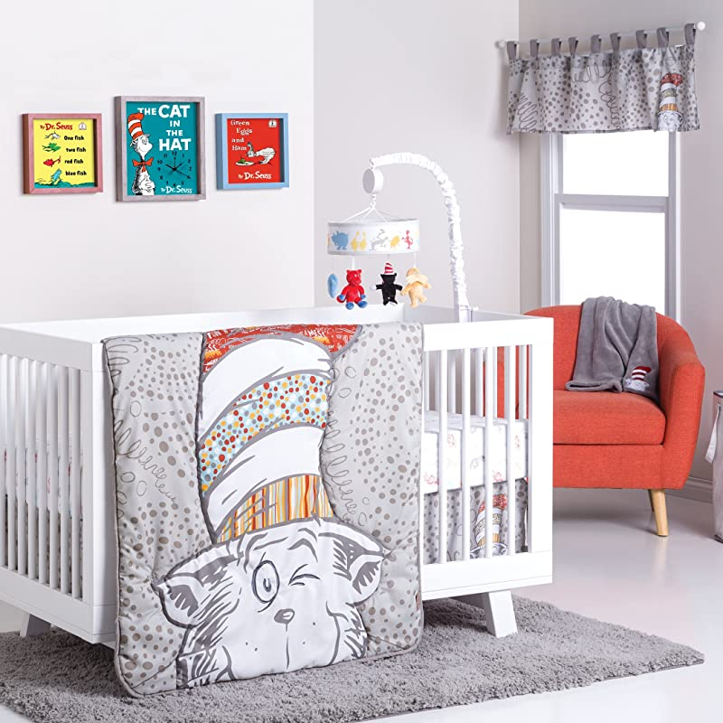 Trend Lab Dr Seuss Peek A Boo Cat In The Hat 4Piece Crib Bedding Set