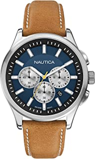 Nautica Gents Watch Chronograph Xl Leather A16695G Quartz, Brown Band