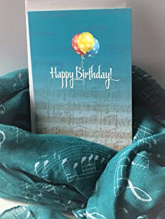 Smiling Wisdom - Music Scarf Happy Birthday Greeting Card Gift Set - Teal Blue Green - Celebrate Her