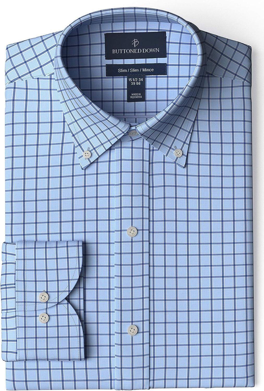 Buttoned Down Men's Slim Fit Button Collar Pattern Dress Shirt