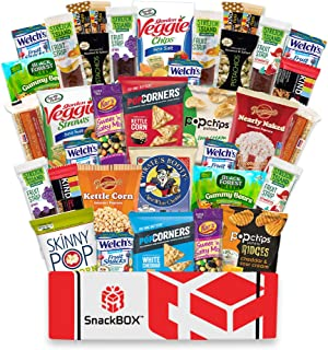 SnackBOX Gluten Free Healthy Snacks Care Package (34 Count) for College Students, Exams, Halloween, Military, Finals, Office and Gift Ideas. Over 3 LBS of Chips, Popcorn, and granola Bars.
