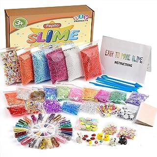 FEPITO 76 PCS slime kit, incluyendo bolas de espuma, bolas de pecera, ojos temblorosos, cáscara, rebanadas, hoja de oro de imitación, confeti, modelos animales (viene con no pegamento)