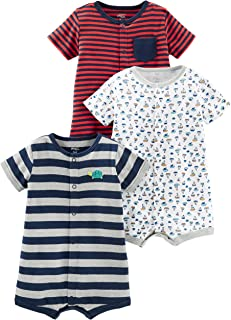 Boys' 3-Pack Snap-up Rompers
