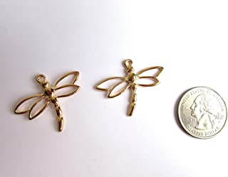 2 Gold Tone Filigree Dragonfly Bracelet Charms / Pendant Jewelry Making Supply