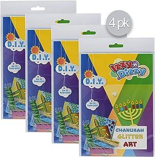 "Izzy 'n' Dizzy Hanukkah Glitter Art Kit - 4 Pack - Includes 8"" x 6"" Board and 3 Colors Glitter (Non-Toxic) - Chanukah Arts..."