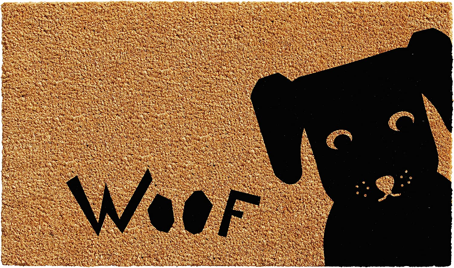 Calloway Mills 102211729 Woof Doormat, 17  x 29 , Natural, Black