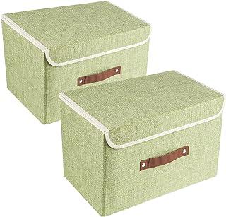 UMI. by Amazon 2 Pack Boîtes de Rangement Tissu avec Couvercle et Poignée, Caisse de Rangement Pliable Vert