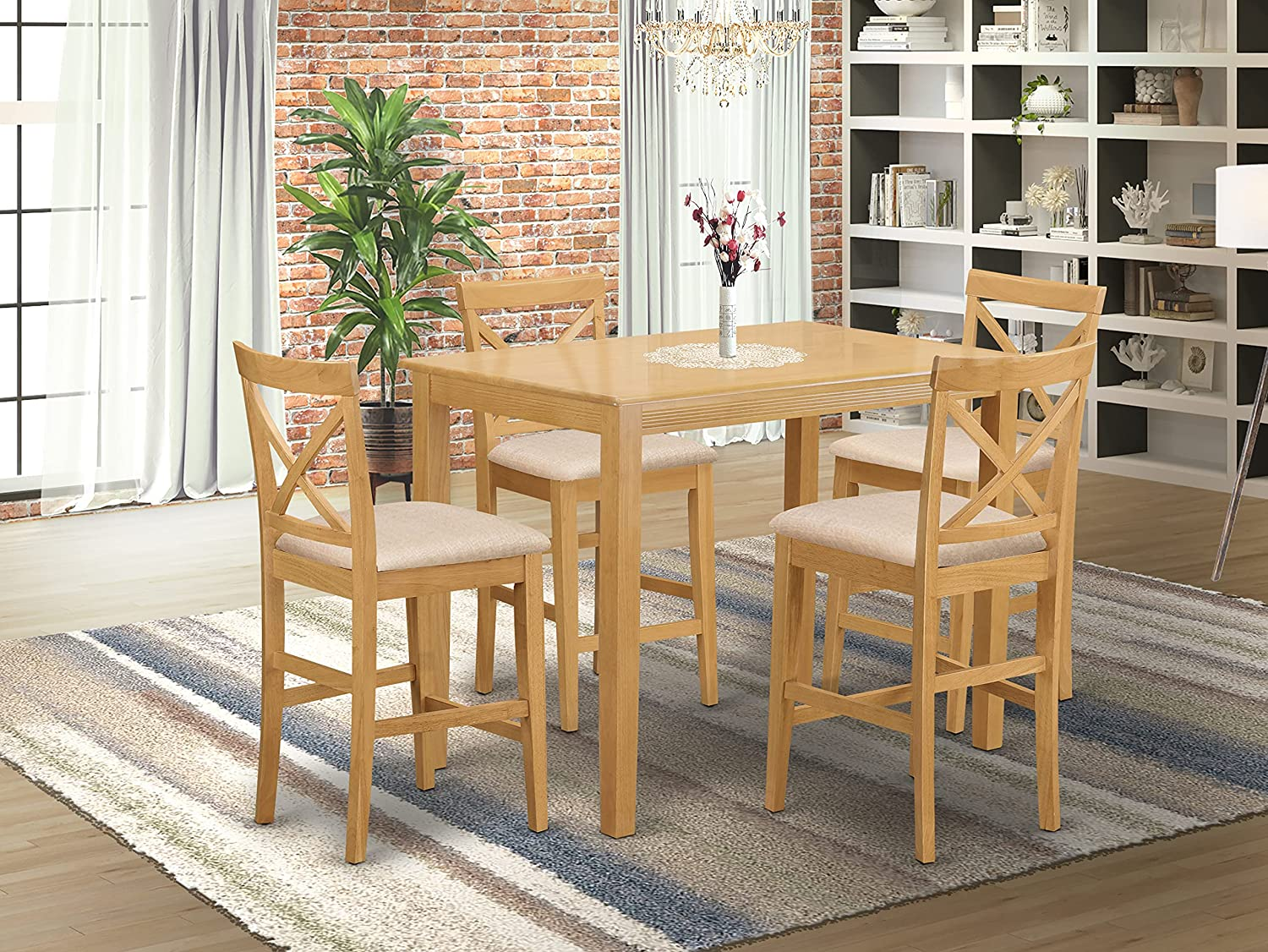9 Pc counter height Dining set   high top Table and 9 Dining Chairs.