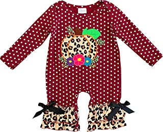 Baby Infant Girls Fall Winter Holidays Halloween Thanksgiving Christmas Ruffles Rompers Romper