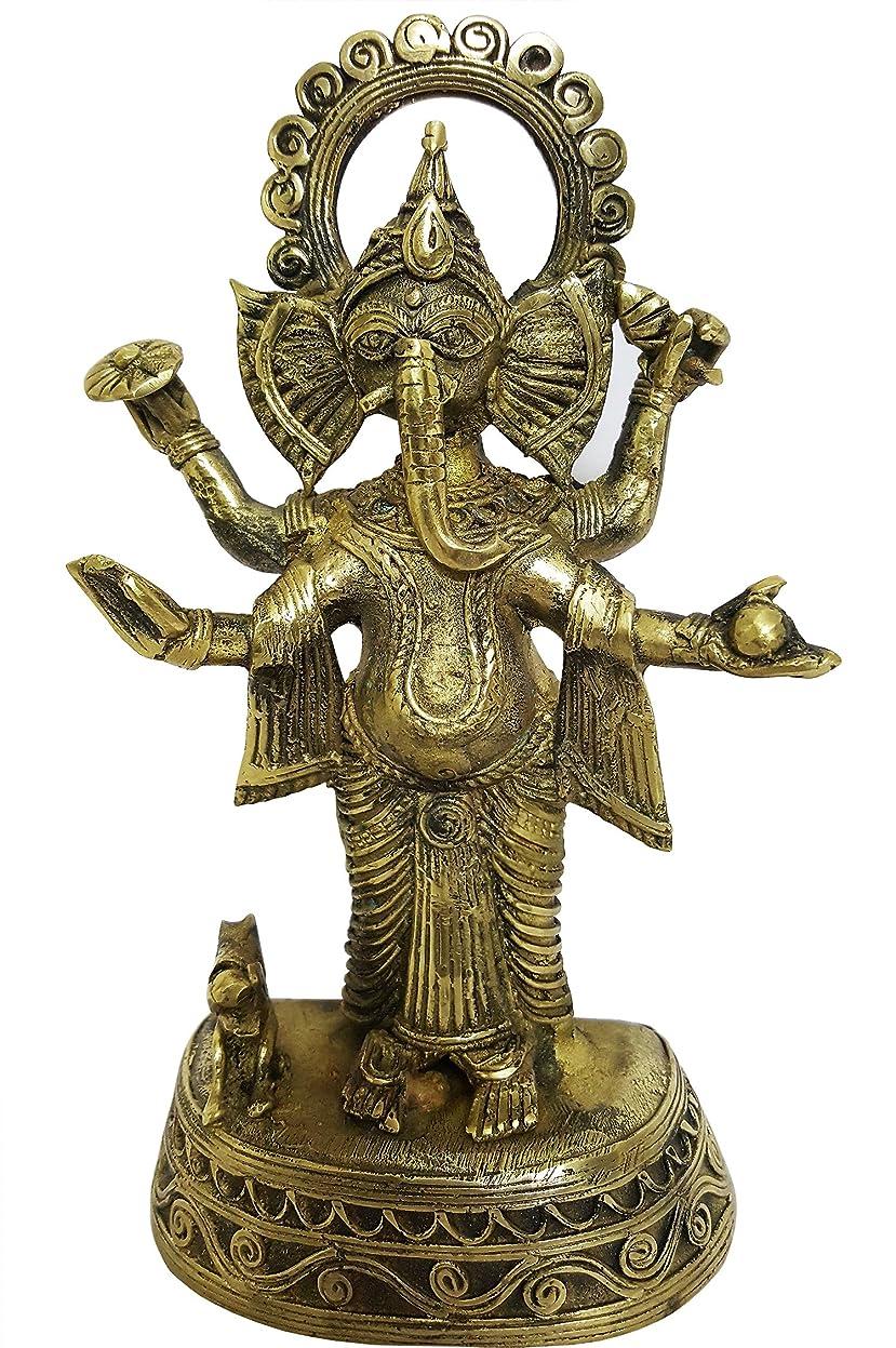 話すスタック記念品mehrunnisa手作りDhokra真鍮Chaturbhujガネーシャ彫刻( meh2232?)