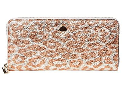Kate Spade New York Metallic Leopard Slim Continetnal Wallet (Silver Multi) Checkbook Wallet