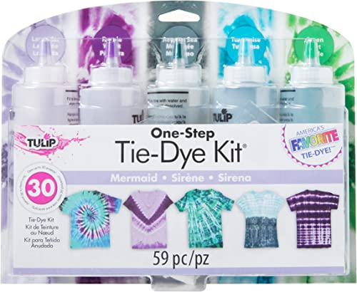Tulip One-Step Tie-Dye Kit, 5 Mermaid Colors, Easy Activity Kit for Kids & Adults, Endless Designs, Vibrant Fabric Dye