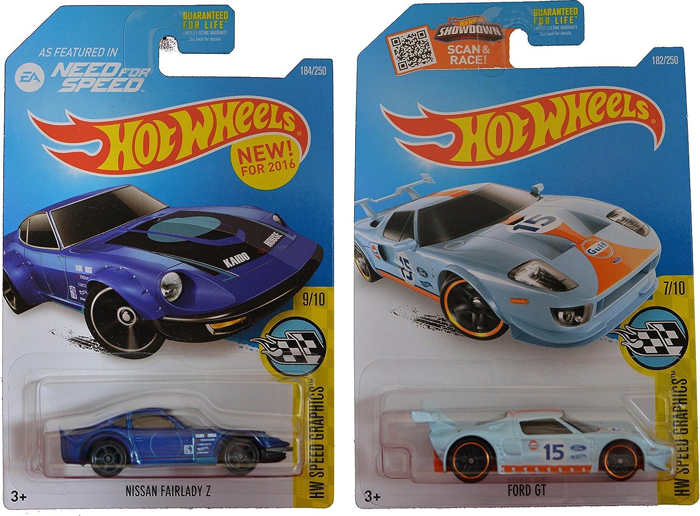 centro comercial de moda Hot Wheels 2016 Speed Graphics Graphics Graphics Nissan Fairlady Z (Need for Speed) & Ford GT 2-Coche Set by Team Hot Wheels  tienda de pescado para la venta