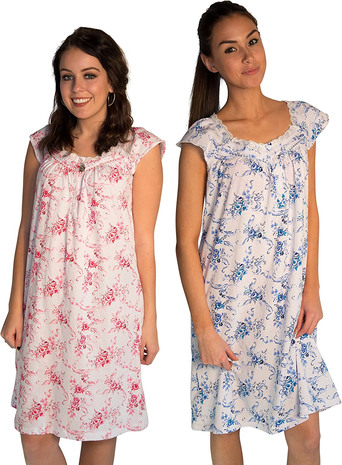 JOTW 2 Pack of Nightgown Sleepwear Dress with pinkPrint  Medium to 2XL Available (0077)