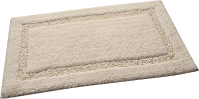 Saffron Fabs 2 Piece Bath Rug Set, 100% Soft Cotton, Size 24x17 Inch and 34x21 Inch, Latex Spray Non-Skid Backing, Solid Ivory Color, Textured Border, Hand Tufted, 190 GSF Weight, Machine Washable