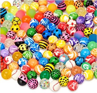 "MATICAN 100-Pack Bouncy Balls Bulk, Assorted Design 1.25"" Rubber High Bouncing Balls for Kids, Party Favors, Carnival Priz..."