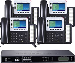 Business Phone System by Grandstream 8-Line Ultimate Pack: Color Phones Including Auto Attendant Voicemail Cell & Remote Extensions Call Recording & Free Telco Depot Dialtone 1 Year (4 Phone Bundle)
