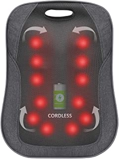 Comfier Cordless Back Massager with Heat - Rechargeable Chair Massager, Shiatsu Massage Chair Pad with Adjustable Intensit...
