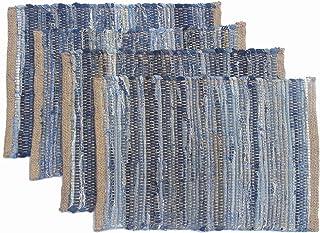 Chardin home Eco Friendly Denim/Jute Placemats (Set of 4), Size: 14``x19`` (14``x19``)