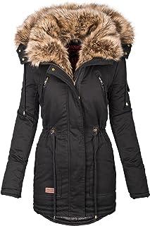 c992b918d9e374 Navahoo warme Damen Winter Jacke Parka lang Mantel Winterjacke Fell Kragen  B380