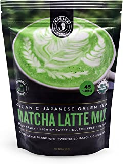 Jade Leaf - Organic Japanese Matcha Latte Mix - Cafe Style Sweetened Blend - Sweet Matcha Green Tea Powder [1lb Pouch]
