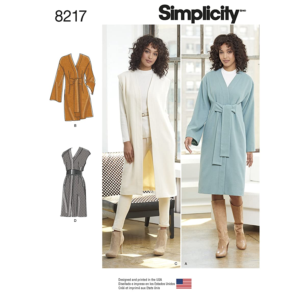 Simplicity 8217 Women's Long Coat and Vest Sewing Pattern, Sizes 8-16
