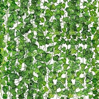 CEWOR Fake Ivy Garland 36 Strands 236 Feet Artificial Silk Ivy Leaf Jungle Vines Faux Greenery Hanging Plants for Home Gar...