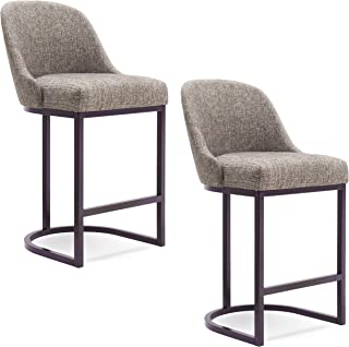 Leick Furniture Barrelback Counter Stool Set of 2, Gray Linen