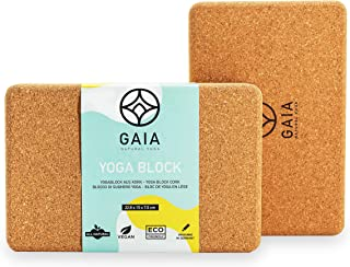 Gaia - Natural Yoga - Blok do jogi 2-częściowy zestaw do jogi z paskiem – poręczny blok do jogi korek do jogi i pilatesu –...