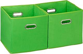 Relaxdays 10025656_53 Lot de 2 boîtes de rangement, sans couvercle, avec poignée, pliable, panier en tissu carré, 30 cm, v...