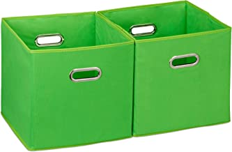 Relaxdays Storage Box Set of 2, No Lids, With Handles, Folding, Square Shelf Bins, 30 cm, Green, Polyester, cardboard, Pac...
