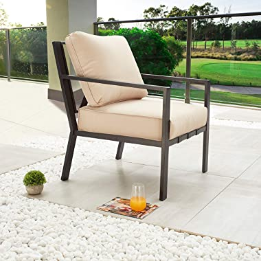 LOKATSE HOME Patio Dining Chair Modern Outdoor Single Sofa Metal Armchair Bistro Cushioned Furniture for Porch, Deck, Garden,
