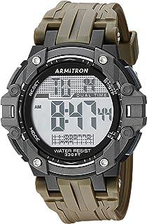 ساعة ارمترون سبورت للرجال 40/8429DGN رقمية كرونوغراف بلون أخضر زيتوني بسوار من الراتنج