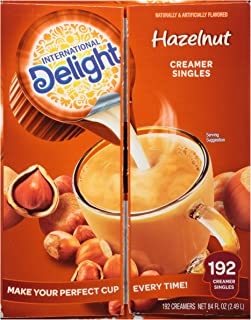 International Delight, Hazelnut, Single-Serve Coffee Creamers, 192 Count (Pack of 1), Shelf Stable Non-Dairy Flavored Coff...