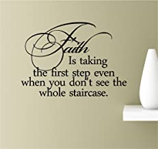 Faith is taking the first step even when you don't see the whole staircase. inspirational wall quotes sayings vinyl decals art (black)