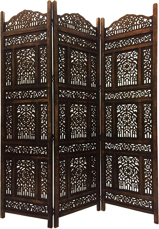Orientalischer Paravent Raumteiler aus Holz Abhinava 150 x 180cm hoch in Braun  Indischer Trennwand als Raumtrenner oder Dekoration im Zimmer oder Sichtschutz im Garten, Terrasse oder Balkon