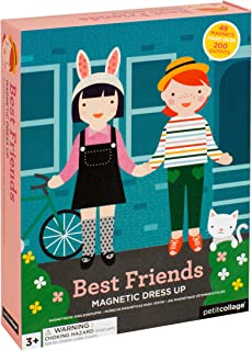 Petit Collage Magnetic Dress-Up, Best Friends, 59 Magnetic Pieces to Create Over 200 Outfits