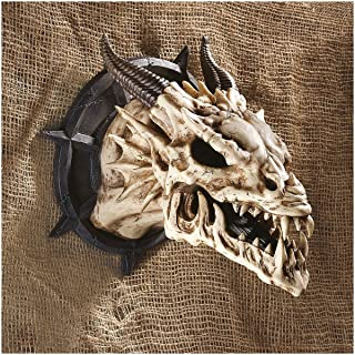 Dungeon Chained Skeletal Dragon Protruding Skull Wall Sculpture Figurine Decor