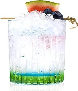 RCR Color Crystal Short Whisky Water Tumblers Glasses, 13oz, Set of 6, Green