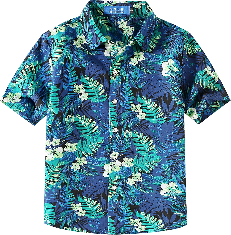 SSLR Youth Big Boys Button Down Shirt Casual Short Sleeve Hawaiian Shirts for Boys