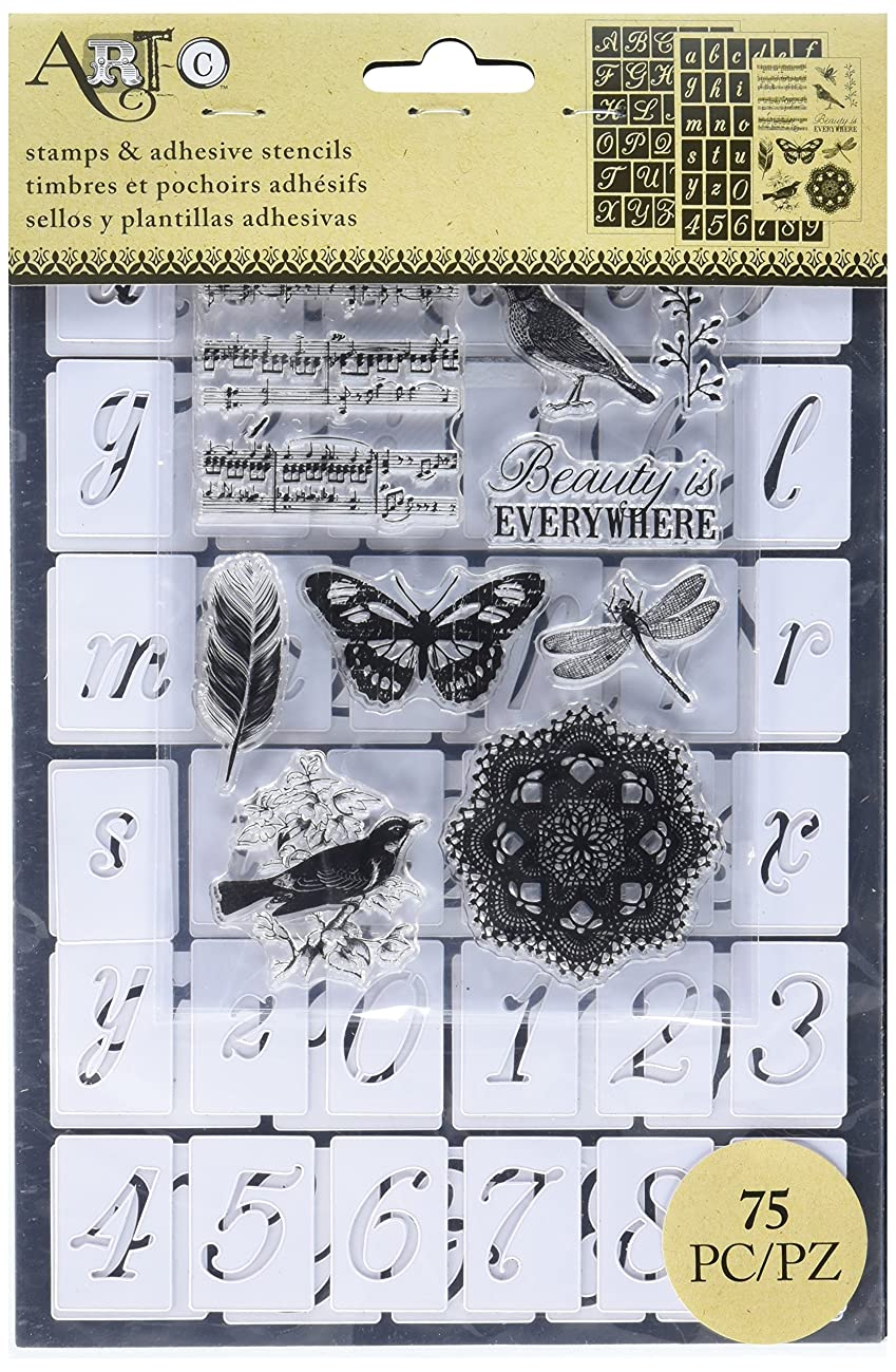 Momenta Art-C Stencil and Clear Stamp-Script Alpha 2/Sheets