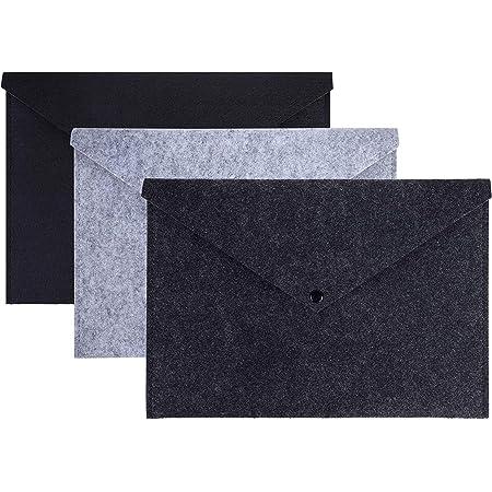 Pochette Porte-documents A4 Papier Dossier en Feutre Enveloppe Organiseu avec Bouton Pression et Poche Parfait Porte Document pour Bureau École Étudiant Lot de 3