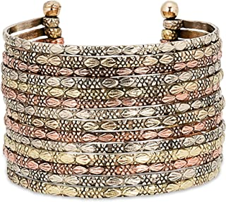 SPUNKYsoul New! Boho Metal Cuff Bangle Bracelets for Women in Silver Gold or Multi Toned Copper l Collection