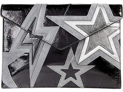 Rebecca Minkoff Leo Clutch (Black/Silver) Clutch Handbags