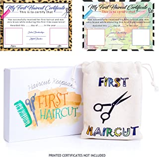 First Curl Haircut Keepsake with Certificate for Boys and Girls – Cute Bag Sack to Hold Baby's 1st Hair – Box Holder Makes it a Great Gift Idea for Kids (Printed Certificates Not Included)