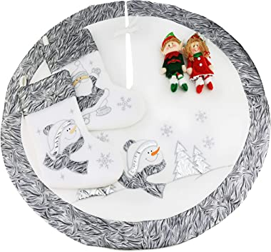 WEWILL 36'' Luxury Christmas Tree Skirt Embroidered Silvery Santa Claus Snowflake with Satin Border , Xmas Tree Skirt Themed